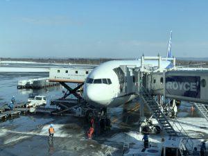 うっすらと雪化粧した空港